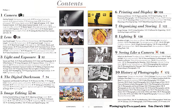 """The 'Contents' pages of """"A Short Course in Digital Photography"""""""