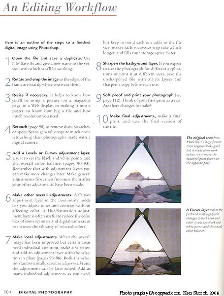 """1 of 2 pages on 'An Editing Workflow' from """"A Short Course in Digital Photography"""""""