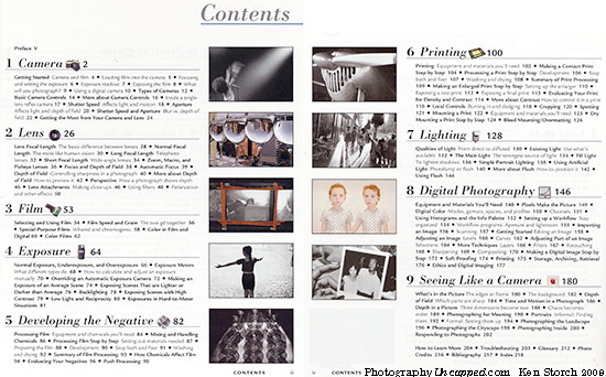 "The somewhat similar 'Contents' pages of ""A Short Course in Photography"""