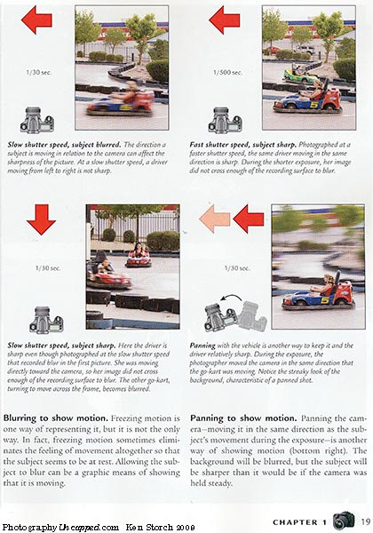 The new book has slightly improved examples of the effects of Shutter Speeds