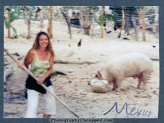 Ms. Lee photographed with 'The Pig'