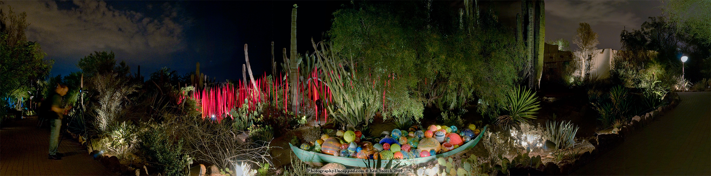 Desert Botanical Garden Chihuly installation panoramic photograph