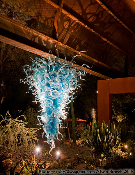Chihuly glass work suspended in the Desert Botanical Garden