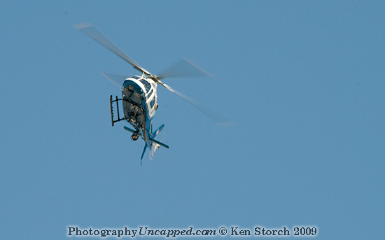 Helicopter Circling the Implosion Site