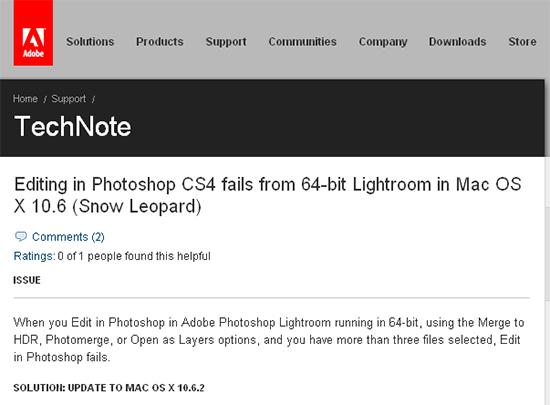 Apple Show Leopard Fix for Adobe Photoshop Tech Note