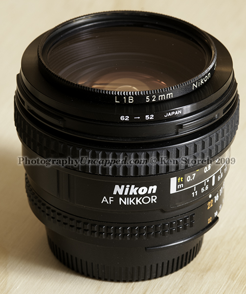 62mm to 52mm Step-Down Filter Ring Adapter on a Nikon 20mm 2.8 AF-D Lens Which Takes 62mm Filters