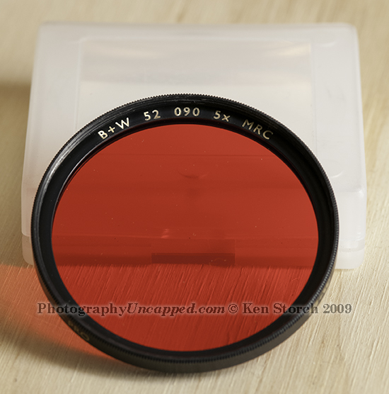 B+W 52mm 090 Deep Red Filter Showing the 52 Designating the Filter Thread Size