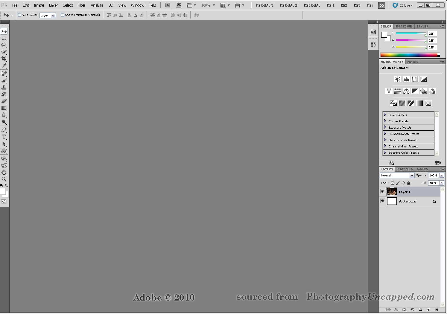 new adobe photoshop cs5 cs5 extended workspaces screen captures