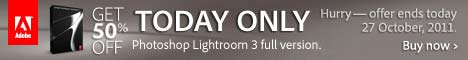 Today only - Save 50% on Lightroom 3. Ends 27 October, 2011