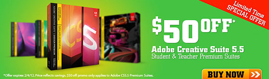 $50 off Adobe Creative Suite CS5.5 for Students + Teachers