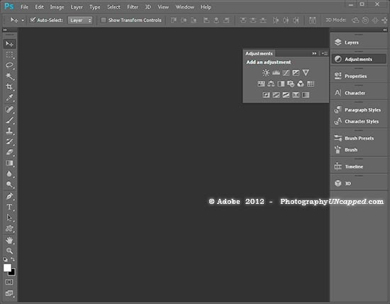 Photoshop CS6 Adjustment Panel Flyout
