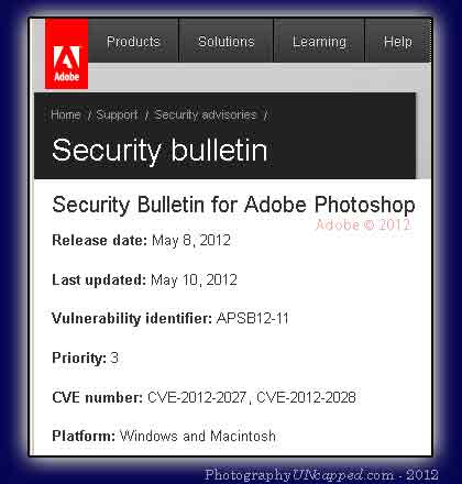 Photoshop Security Vulnerability in CS5 and Earlier Versions